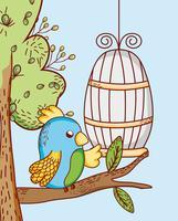 Caricature de perroquet en cage doodle vecteur