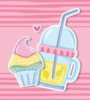 Cupcake et jus aux pastels vecteur