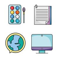 définir des icônes d'ustensiles d'école d'éducation vecteur