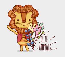 Dessin animé mignon lion doodle vecteur