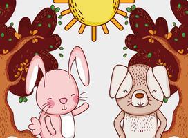 Lapin et chien dans la forêt dessins animés doodle vecteur