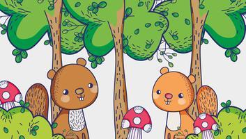 Écureuils dans les dessins animés de la forêt