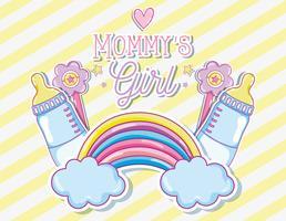 Mommys fille carte avec dessin animé mignon vecteur