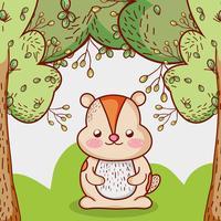 Écureuil dans les dessins animés de la forêt vecteur