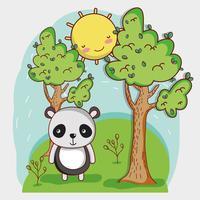 Panda mignon sur la forêt vecteur