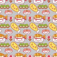 Dessins de la gastronomie japonaise fond kawaii vecteur