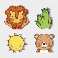 Lioand et ours avec de jolis dessins animés de la nature vecteur
