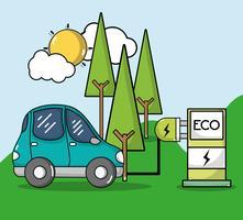 station de recharge d'énergie avec voiture électrique vecteur
