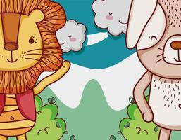 Lion et chien mignon dessin animé vecteur