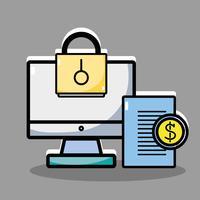 écran d'ordinateur linéaire avec documents et pièces de monnaie