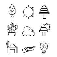 définir des icônes de design plat linéaire