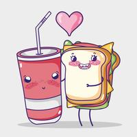 Caricature kawaii en forme de sandwich et de soda vecteur