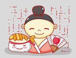 Japonais amoureux de la nourriture vecteur