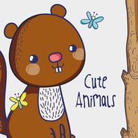 Écureuil en forêt doodle cartoon vecteur