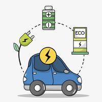 transport en voiture électrique avec technologie de batterie vecteur