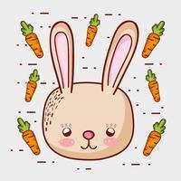 Mignon lapin aux carottes dessins animés doodle