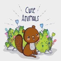 Dessin animé mignon doodle écureuil vecteur