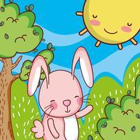Lapin dans la forêt doodle cartoon vecteur
