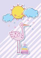 Dessin animé mignon de cigogne avec jouet de bébé vecteur