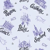 Modèle sans couture. Pays et villes. Caractères. Croquis. Repères. Voyage. Russie, Grèce, Turquie, Italie, Allemagne. Vecteur.