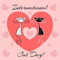 Journée internationale des chats. Carte de vacances. Chats blancs et noirs. Style de bande dessinée. Chatons drôles drôles. Empreintes de chat. Cœur. Illustration vectorielle