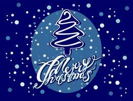 Joyeux Noël. Lettrage arbre de noel vecteur