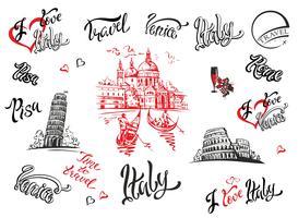 Italie. Venise, Rome, Pise. Ensemble d'éléments pour la conception. Cathédrale. Colisée. tour de Pise. croquis. Caractères. Gondoles Grain de raisin. Du vin. Illustration vectorielle
