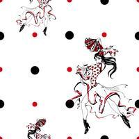 Jeune fille danse flamenco. Modèle sans couture. Gitan. Fond de pois. Blanc. Vecteur.