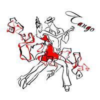 Dansant. Couple dansant le tango. Vecteur. Logo.
