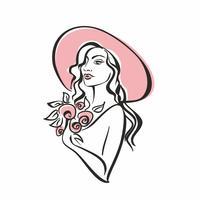 Portrait d'une jeune fille au chapeau avec des fleurs. Ancien. Modèle fille élégante. Vecteur