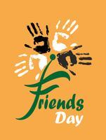 Journée des amis Carte de vacances. Empreinte de la main. Fleur. Lettrage. Fond orange. Illustration vectorielle vecteur