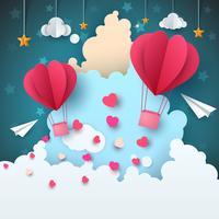 Paysage aérien de papier de dessin animé. Nuage, avion, coeur, amour, star