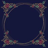 Le cadre est rond. Des roses. Or. Illustration vectorielle