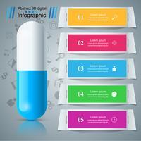 Tablette, pilule, infographie de pharmacologie.