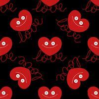 Fun tricoté coeur pour la conception de la Saint-Valentin. amour. Valentin. Boutons oculaires. Image drôle. Carte de vœux. vecteur
