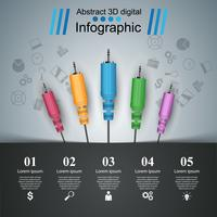Education musicale infographique. icône du câble.