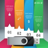 Icône USB. Quatre articles en papier infographique.