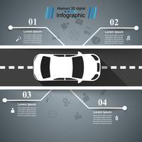 Modèle de conception infographique route et icônes marketing. Icône de la voiture. vecteur