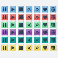 Ensemble d'icônes de boutons de couleur brillant pour la conception web