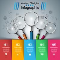 Infographie de l'entreprise. Icône de la loupe.