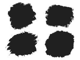 Tache de pinceau d'encre noire, coups de pinceau, bannières, bordures