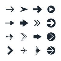 Vecteur série d'icônes de flèches différentes noires