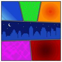 Modèle de page de bande dessinée avec arrière-plans radiaux et silhouette de ville de nuit