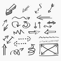 Icônes dessinées à la main des flèches et abstrait doodle conception d'écriture vecteur