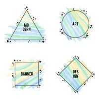 Cadres élégants différentes formes avec des coups de pinceau de couleurs pastel, set vector