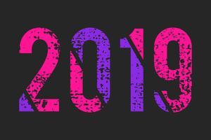 Résumé numéro 2019 style grunge, couleurs roses et violettes à la mode