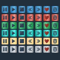 Ensemble de vecteur d'icônes de boutons brillants pour la conception web