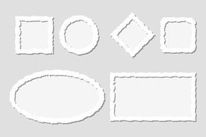 Ensemble de cadres de papier déchiré blanc avec des ombres, de différentes formes vecteur