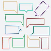 Bulles de dialogue icônes linéaires en forme de rectangle avec des ombres