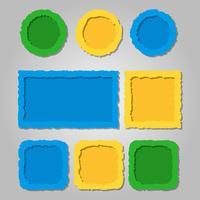 Cadres de papier déchiré de couleur avec des ombres, différentes formes vecteur